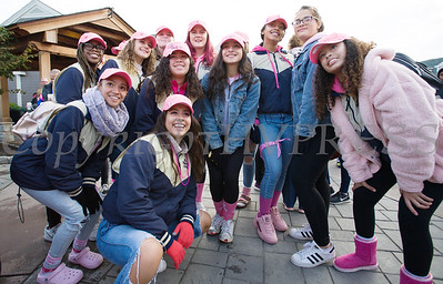 Newburgh Free Academy Swim and Diving Team joined with thousands of people, including cancer survivors, their families and businesses, that participated in the annual American Cancer Society Making Strides Against Breast Cancer walk at Woodbury Common Premium Outlets in Central Valley, NY on Sunday, October 14, 2018. Hudson Valley Press/CHUCK STEWART, JR.
