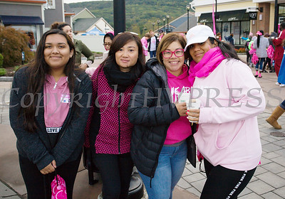 """Maritza Calderon, a two year breast cancer survivor with her team """"The Pink Zumbaras"""" joined with thousands of people, including cancer survivors, their families and businesses, that participated in the annual American Cancer Society Making Strides Against Breast Cancer walk at Woodbury Common Premium Outlets in Central Valley, NY on Sunday, October 14, 2018. Hudson Valley Press/CHUCK STEWART, JR."""