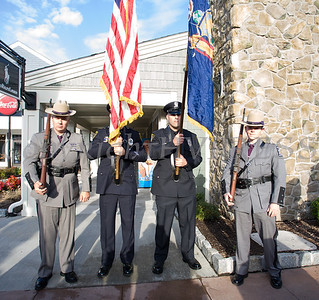 The New York State Police Color Guard awaits the singing of the National Anthem as thousands of people, including cancer survivors, their families and businesses, participated in the annual American Cancer Society Making Strides Against Breast Cancer walk at Woodbury Common Premium Outlets in Central Valley, NY on Sunday, October 14, 2018. Hudson Valley Press/CHUCK STEWART, JR.