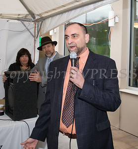 Dr. Salidino offers remarks as Curaleaf held a ribbon cutting ceremony in celebration of their grand opening in Newburgh on April 19, 2018. Hudson Valley Press/CHUCK STEWART, JR.
