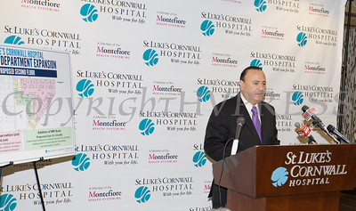 New York State Assemblyman Frank Skartados (D-Milton) expresses how important St. Luke's Cornwall Hospital in Newburgh is during an announcement of a major expansion and upgrade to its emergency department. Hudson Valley Press/CHUCK STEWART, JR.