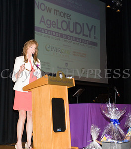 Orange County Office for the Aging Director AnnMarie Maglione offers remarks on Friday, June 15, 2018 at the 10th Annual Hudson Valley World Elder Abuse Awareness Day Conference held at Mount Saint Mary College in Newburgh, NY. Hudson Valley Press/CHUCK STEWART, JR.