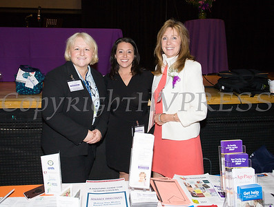 Sylvia McTigue, President and CEO of EverCare, Danielle Diana, Orange County Office of the Aging Deputy Director, and AnnMarie Maglione, Orange County Office of the Aging Director on Friday, June 15, 2018 at the 10th Annual Hudson Valley World Elder Abuse Awareness Day Conference held at Mount Saint Mary College in Newburgh, NY. Hudson Valley Press/CHUCK STEWART, JR.