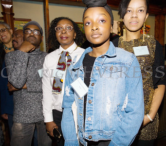 Jean Benoit, Yvette Byrd, Kyra Sukenya Husbands, and Destiny Faulkner were some of the artists who were on hand at Saturday's opening for the Howland Cultural Center's 24th Annual African American History Month Art Exhibit. Hudson Valley Press/CHUCK STEWART, JR.