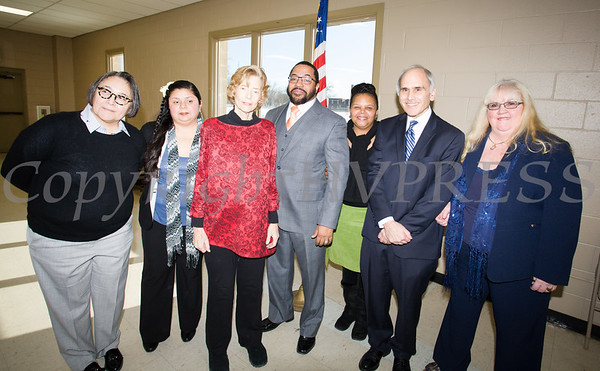 Members of the Newburgh City Council Ramona Monteverde, Karen Mejia, Mayor Judy Kennedy, Torrance Harvey, Hillary Rayford, Jonathan Jacobson, and Patricia Sofokles following the induction ceremony for newly elected members on Monday, January 1, 2018. Hudson Valley Press/CHUCK STEWART, JR.