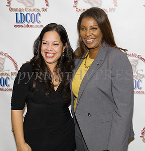 New York State Attorney General Candidate Letitia James with Honoree Jacqueline Hernandez at the Latino Democratic Committee of Orange County Ffifteenth Annual Fall Dinner Dance at Cafe Internationale in Newburgh, NY on Saturday, October 13, 2018. Hudson Valley Press/CHUCK STEWART, JR.