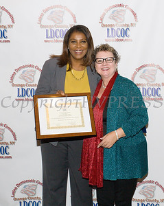 New York State Attorney General Candidate Letitia James with Mary Olivera at the Latino Democratic Committee of Orange County Ffifteenth Annual Fall Dinner Dance at Cafe Internationale in Newburgh, NY on Saturday, October 13, 2018. Hudson Valley Press/CHUCK STEWART, JR.