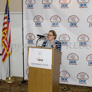 Secretary Juana Leandry-Torres offers remarks during the Latino Democratic Committee of Orange County Ffifteenth Annual Fall Dinner Dance at Cafe Internationale in Newburgh, NY on Saturday, October 13, 2018. Hudson Valley Press/CHUCK STEWART, JR.