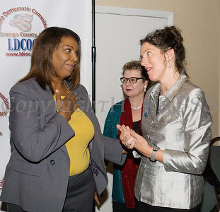 New York State Attorney General Candidate Letitia James speaks with Jen Metzger during the Latino Democratic Committee of Orange County Ffifteenth Annual Fall Dinner Dance at Cafe Internationale in Newburgh, NY on Saturday, October 13, 2018. Hudson Valley Press/CHUCK STEWART, JR.
