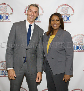 Matt Rettig with New York State Attorney General Candidate Letitia James at the Latino Democratic Committee of Orange County Ffifteenth Annual Fall Dinner Dance at Cafe Internationale in Newburgh, NY on Saturday, October 13, 2018. Hudson Valley Press/CHUCK STEWART, JR.