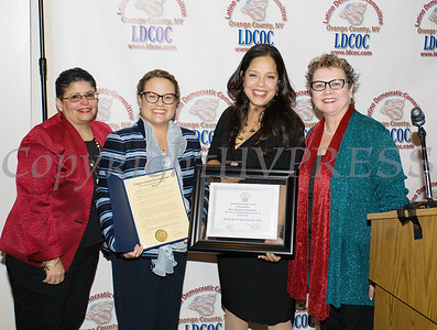 Sonia Ayala, Juana Leandry-Torres, Honoree Jacqueline Hernandez and Mary Olivera at the Latino Democratic Committee of Orange County Ffifteenth Annual Fall Dinner Dance at Cafe Internationale in Newburgh, NY on Saturday, October 13, 2018. Hudson Valley Press/CHUCK STEWART, JR.