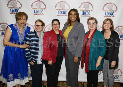 Members of the Latino Democratic Committee of Orange County pose with Letitia James during the organizations Ffifteenth Annual Fall Dinner Dance at Cafe Internationale in Newburgh, NY on Saturday, October 13, 2018. Hudson Valley Press/CHUCK STEWART, JR.