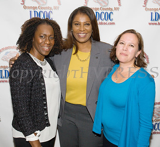 Lana Williams-Scott, New York State Attorney General Candidate Letitia James and Wren Longno at the Latino Democratic Committee of Orange County Ffifteenth Annual Fall Dinner Dance at Cafe Internationale in Newburgh, NY on Saturday, October 13, 2018. Hudson Valley Press/CHUCK STEWART, JR.