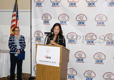 Jacqueline Hernandez received the Entrepreneurship Award during the Latino Democratic Committee of Orange County Ffifteenth Annual Fall Dinner Dance at Cafe Internationale in Newburgh, NY on Saturday, October 13, 2018. Hudson Valley Press/CHUCK STEWART, JR.