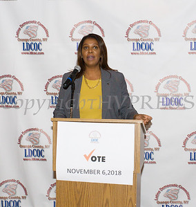 New York State Attorney General Candidate Letitia James offers remarks during the Latino Democratic Committee of Orange County Ffifteenth Annual Fall Dinner Dance at Cafe Internationale in Newburgh, NY on Saturday, October 13, 2018. Hudson Valley Press/CHUCK STEWART, JR.