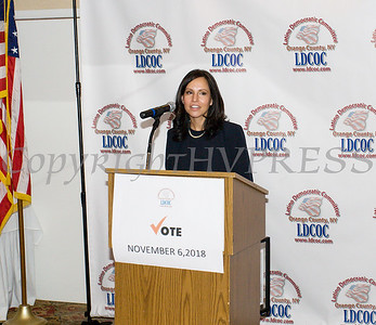 Jennifer Echevarria offers remarks after accepting the Leadership Award during the Latino Democratic Committee of Orange County Fifteenth Annual Fall Dinner Dance at Cafe Internationale in Newburgh, NY on Saturday, October 13, 2018. Hudson Valley Press/CHUCK STEWART, JR.