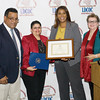 Ernie Tirado, Sonia Ayala, and Mary Olivera present Letitia James (second from right) with a certificate of recognition during the Latino Democratic Committee of Orange County Ffifteenth Annual Fall Dinner Dance at Cafe Internationale in Newburgh, NY on Saturday, October 13, 2018. Hudson Valley Press/CHUCK STEWART, JR.