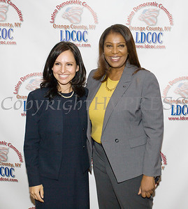 Honoree Jennifer Echevarria with New York State Attorney General Candidate Letitia James at the Latino Democratic Committee of Orange County Ffifteenth Annual Fall Dinner Dance at Cafe Internationale in Newburgh, NY on Saturday, October 13, 2018. Hudson Valley Press/CHUCK STEWART, JR.