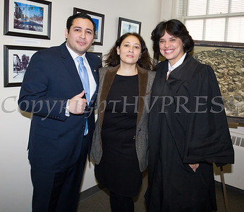 Newly elected Orange County Legislator for District 4, Kevindaryan Lujuan with his mother Monica and the Hon. Maria Vasquez-Doles after he took the oath of office on Tuesday, January 2, 2018. Hudson Valley Press/CHUCK STEWART, JR.