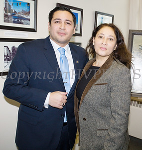 Newly elected Orange County Legislator for District 4, Kevindaryan Lujuan with his mother Monica after he took the oath of office on Tuesday, January 2, 2018. Hudson Valley Press/CHUCK STEWART, JR.