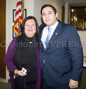 Newly elected Orange County Legislator for District 4, Kevindaryan Lujuan with Maria C Ingrassia, the Constituent Advocate for US Rep. Sean Patrick Maloney (NY-18), after he took the oath of office on Tuesday, January 2, 2018. Hudson Valley Press/CHUCK STEWART, JR.