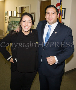 Newly elected Orange County Legislator for District 4, Kevindaryan Lujuan with Katelyn Israelski, Regional Director in State Comptroller DiNapoli's Office, after he took the oath of office on Tuesday, January 2, 2018. Hudson Valley Press/CHUCK STEWART, JR.