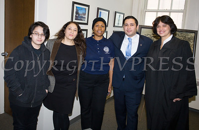 Newly elected Orange County Legislator for District 4, Kevindaryan Lujuan takes a photo with those who attended his swearing-in ceremony on Tuesday, January 2, 2018. Hudson Valley Press/CHUCK STEWART, JR.
