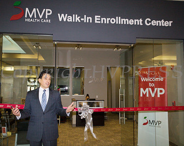 MVP Vice President Retail Outreach Mark Santiago offers remarks as MVP Health Care unveiled their expanded walk-in enrollment center at the Newburgh Mall on Wednesday, January 10, 2018. Hudson Valley Press/CHUCK STEWART, JR.