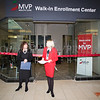 Orange County Chamber of Commerce President Lynn Allen Cione (left) offers remarks as MVP Health Care unveiled their expanded walk-in enrollment center at the Newburgh Mall on Wednesday, January 10, 2018. Hudson Valley Press/CHUCK STEWART, JR.