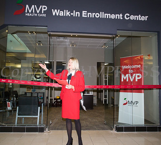 MVP Director Retail Outreach Field Operations Kate Waage offers remarks as MVP Health Care unveiled their expanded walk-in enrollment center at the Newburgh Mall on Wednesday, January 10, 2018. Hudson Valley Press/CHUCK STEWART, JR.