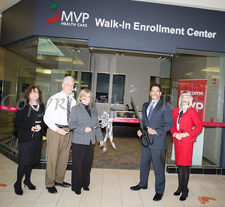 OC Chamber of Commerce President Lynn Allen Cione, Newburgh Mall General Manager Terry Parisian, MVP Eecutive Vice President Medicaid and MVP Operations Cathy Clancy, MVP Vice President Retail Outreach Mark Santiago and MVP Director Retail Outreach Field Operations Kate Waage cut the ribon for the MVP Health Care expanded walk-in enrollment center at the Newburgh Mall on Wednesday, January 10, 2018. Hudson Valley Press/CHUCK STEWART, JR.