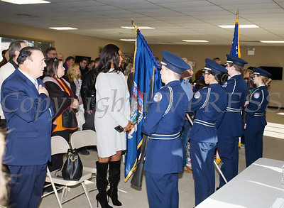 The pledge of Allegiance was recited as part of the induction ceremony for the newly elected members of the Newburgh City Council took the oath of office on Monday, January 1, 2018. Hudson Valley Press/CHUCK STEWART, JR.
