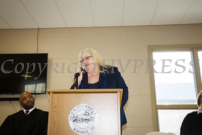 Newburgh City Councilmember Patricia Sofokles (Ward 4) offers remarks after taking the oath of office on Monday, January 1, 2018. Hudson Valley Press/CHUCK STEWART, JR.