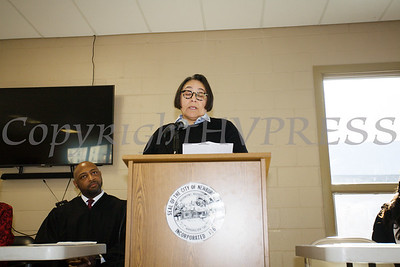 Newburgh City Councilmember Ramona Monteverde (Ward 2) offers remarks after taking the oath of office on Monday, January 1, 2018. Hudson Valley Press/CHUCK STEWART, JR.