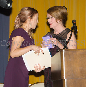 Joan Cusack-McGuirk, President & CEO of St. Luke's Cornwall Hospital received the Hope Award from Kellyann Kostyal-Larrier (left) as Safe Homes of Orange County celebrated its 32nd Anniversary with a Celebration of Hope Gala on Friday, November 2, 2018. Hudson Valley Press/CHUCK STEWART, JR.