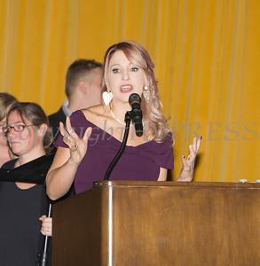 Safe Homes of Orange County Executive Director Kellyann Kostyal-Larrier offers remarks during the Celebration of Hope Gala on Friday, November 2, 2018. Hudson Valley Press/CHUCK STEWART, JR.
