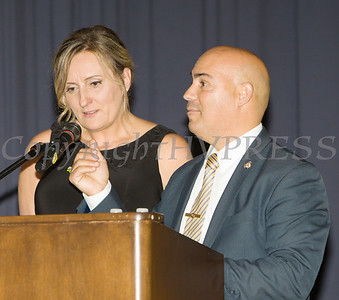 Lt. Cortez of the City of Newburgh Police Department accepts The Family Justice Center Award from Safe Homes of Orange County as the organization celebrated its 32nd Anniversary with a Celebration of Hope Gala on Friday, November 2, 2018. Hudson Valley Press/CHUCK STEWART, JR.