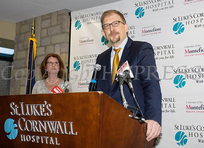 Dr. Geoffrey L. Brackett, St. Luke's Cornwall Hospital Chairman of the Board of Trustees, offers remarks as SLCH announced Wednesday, January 31, 2018 that their partnership with Montefiore Health System has been approved by the New York State Health Commissioner. Hudson Valley Press/CHUCK STEWART, JR.