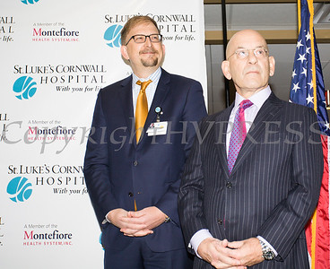 Dr. Geoffrey L. Brackett, St. Luke's Cornwall Hospital Chairman of the Board of Trustees and Steven M. Safyer MD, President and CEO Montefiore Medicine as they announced Wednesday, January 31, 2018 that their partnership has been approved by the New York State Health Commissioner. Hudson Valley Press/CHUCK STEWART, JR.
