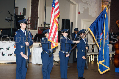 The Newburgh Free Academy AFJROTC presented the colors for the 20th Annual Tuition Assistance Awards Celebration of the Major General Irene Trowell-Harris Chapter of the Tuskegee Airmen, held on Saturday, February 3, 2018 at Anthony's Pier 9 in New Windsor, NY. Hudson Valley Press/CHUCK STEWART, JR.
