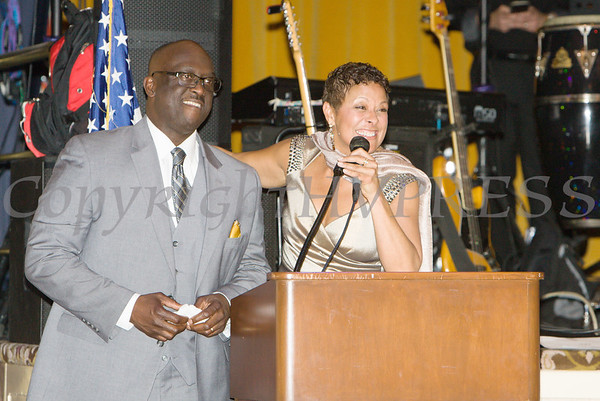 Glendon Fraser shares a moment with Anne Palmer during the 20th Annual Tuition Assistance Awards Celebration of the Major General Irene Trowell-Harris Chapter of the Tuskegee Airmen, held on Saturday, February 3, 2018 at Anthony's Pier 9 in New Windsor, NY. Hudson Valley Press/CHUCK STEWART, JR.