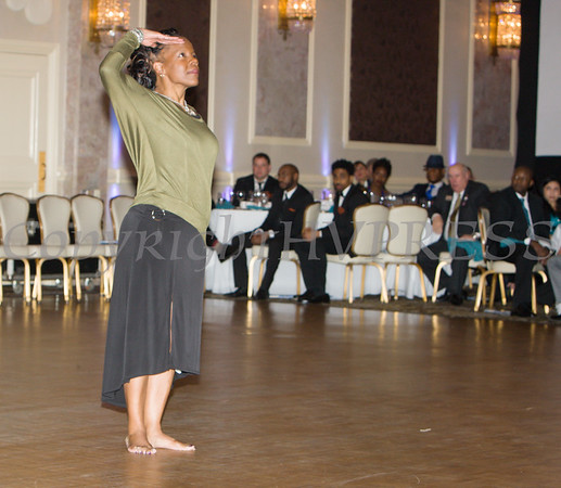 Joyce Henderson of Faith in Motion performed a dance tribute to Glendon Fraser during the 20th Annual Tuition Assistance Awards Celebration of the Major General Irene Trowell-Harris Chapter of the Tuskegee Airmen, held on Saturday, February 3, 2018 at Anthony's Pier 9 in New Windsor, NY. Hudson Valley Press/CHUCK STEWART, JR.