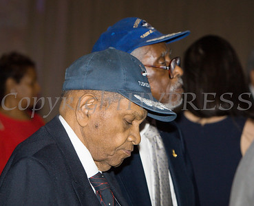 Tuskegee Airmen William Johnson and Wilfred DeFour at the 20th Annual Tuition Assistance Awards Celebration of the Major General Irene Trowell-Harris Chapter of the Tuskegee Airmen, held on Saturday, February 3, 2018 at Anthony's Pier 9 in New Windsor, NY. Hudson Valley Press/CHUCK STEWART, JR.