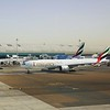 Emirates Airlines Boeing 777 and Airbus A380 aircraft at Dubai International Airport, 09.12.2018.