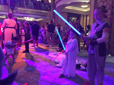 These kids were just so cute with their lightsaber battles and using the Force to try to knock each other down