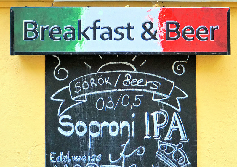 Welcome sign at a pub in Bratislava - Breakfast and Beer