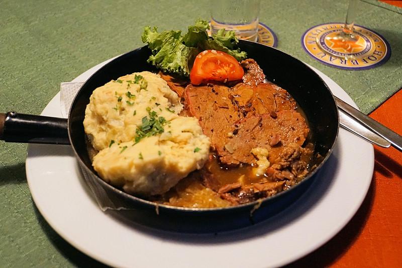 Anne's roast pork dinner at Gasthaus Josefstädter