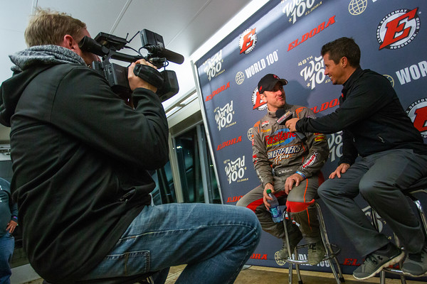 Tim McCreadie (L) being interviewed by Ben Shelton (R)