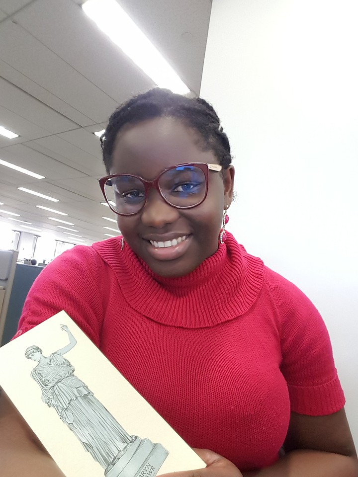 Athena made a surprise visit with Mfon-ido Akpan '15  at work!