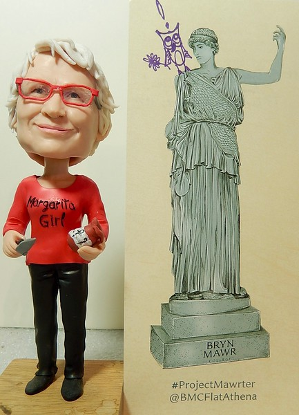With the bobble head commissioned by the daughter of Kate Singley Dannenberg '73 for her 65th birthday. We love it Margarita Girl!